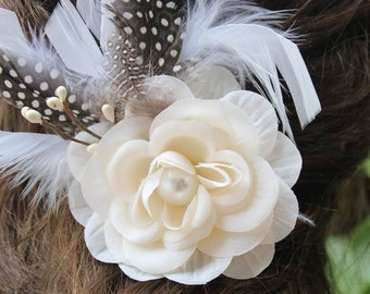Ivory color flower  clip with white color feather