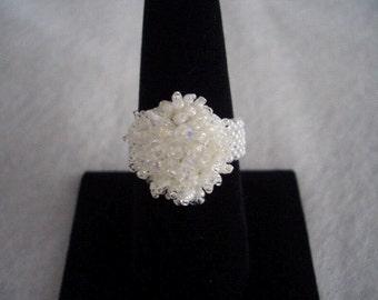 White Crystal Hand Stitched Beaded Ring