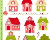 Items similar to SALE Christmas clip art , house Digital ...