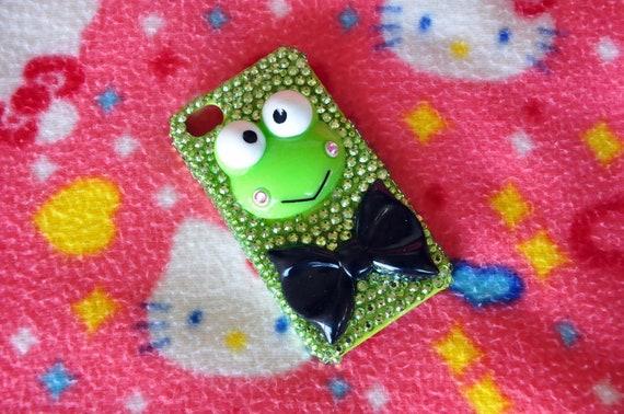 READY TO SHIP iPhone 4/4s DecoDen Keroppi Green Rhinestone Case
