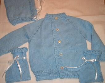 Hand knit 3 piece baby sweater set