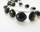 Smoky Quartz, Onion Briolettes, Micro Faceted, 10-13.5mm, Set, Matched Pair and Focal, 3 Smoky Quartz Beads