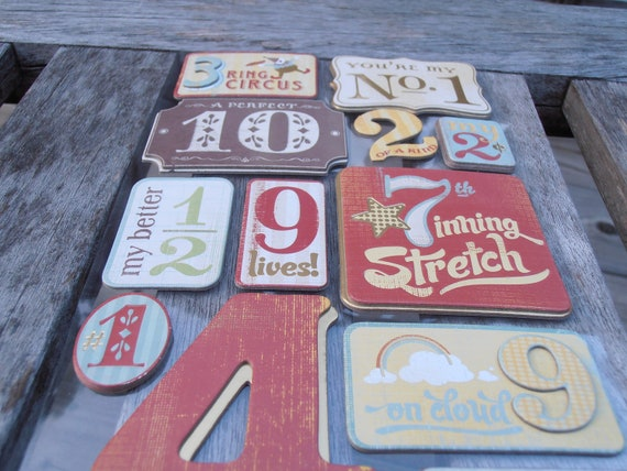 Nostalgic Number Sayings Adhesive Chipboard - Scrapbook Supplies