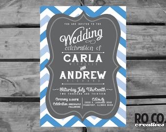 Chevron Chalkboard Style Wedding Invitation, Details Card and Response Card
