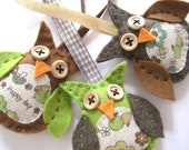 Set of 3 owls Easter spring ornament