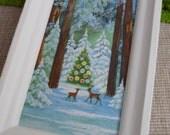 HALF PRICE SALE!  Vintage Framed Holiday Greeting Card - Deer in Sparkly Woodlands