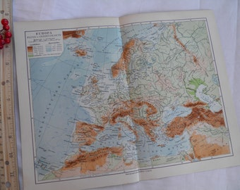 1926 European Map with German Text