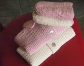 Mother-of-Pearl HAND KNIT Sweater and Hat Set - Size 6 Months, Vanilla, 100% Wool