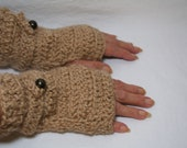 Alpaca Fingerless Gloves Gauntlets Hand Crochet in Wheat