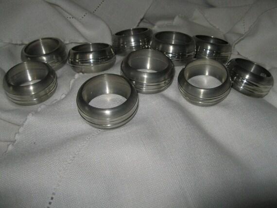 Set of 10 pewter Napkin Rings