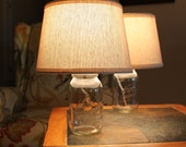 Set of 2 Matching Mason Jar Lamps with Cream Textured Shades