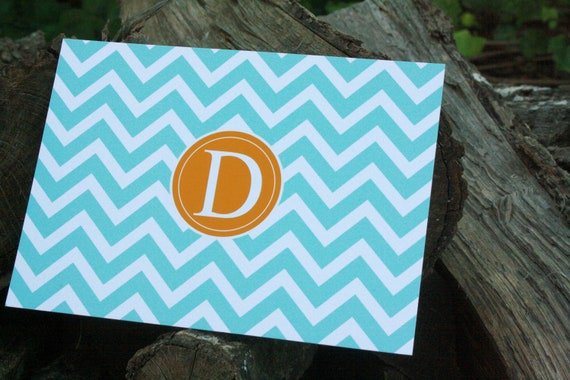 Blue & Orange Chevron Monogrammed Stationery: Set of 12