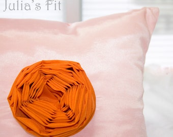 Orange Rose Pillow Decorative Throw Cushion Cover Silk Pink Chic