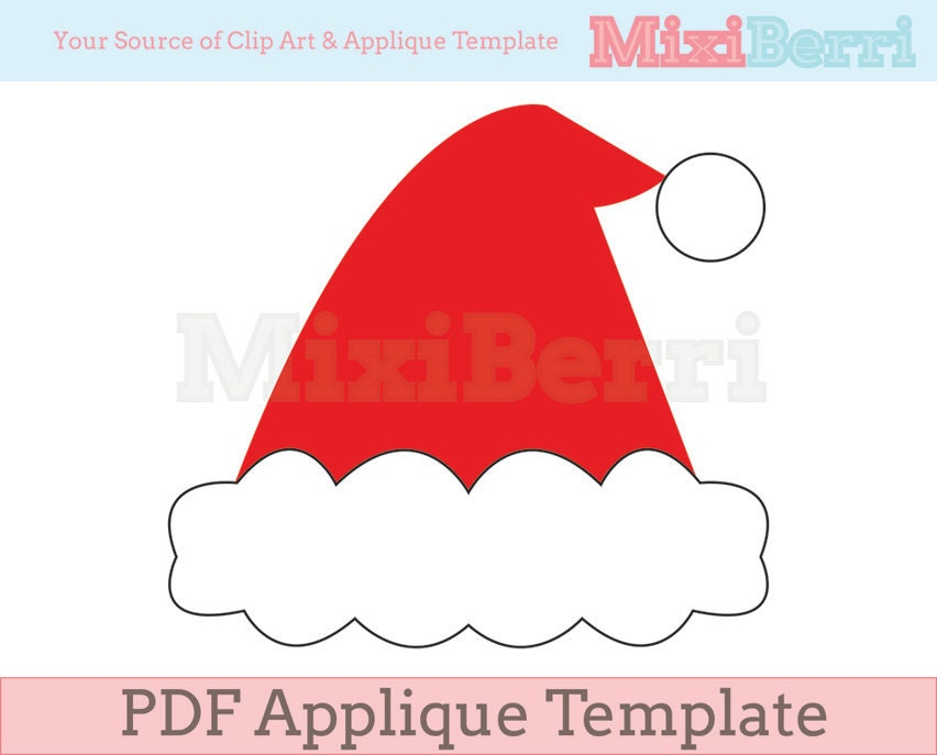 Santa Hat Applique Template PDF