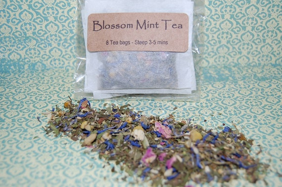 Organic Blossom Mint Tea Chamomile, Lavender, Roses Tea bags