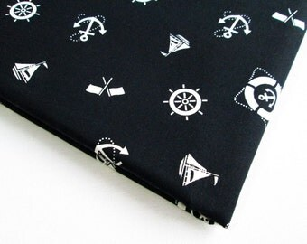 Cotton Fabric Black White Marine, ship, wheel, anchor, flag unique fabric, Marine004, Quilt 100% cotton Gift for her, ipad case, Curtain