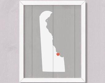 "DELAWARE - Rustic home decor 16""x20"" Handmade Personalized Sign - Custom Heart Location- Wedding Bridal shower Housewarming Family gift"