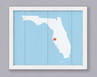 FLORIDA Rustic home decor 16x20 Handmade Personalized Sign Custom Heart Wedding Housewarming Bridal shower Family gift