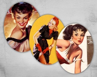Pinup Girls - 30x40mm Ovals - Digital Collage Sheet - Instant Download for jewelry pendants - PINUP NR1