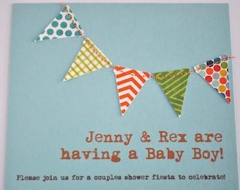 Bunting flags pennant garland handmade sewn aqua and orange boy invitation - custom