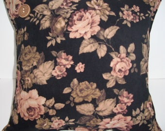 "Decorative Pillow Cover, Home Decor, Floral, Black, Gold and Earthtones, Cottage Chic, 16"" X 16"""