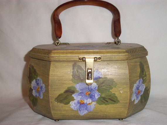 VINTAGE WOODEN PURSE with Painted Lavender  Flowers