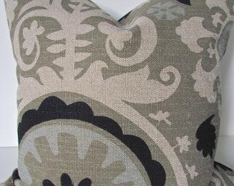 PILLOW Decorative Throw Pillow Covers 16x16 BLACK Ikat Throw pillows Tan pillows home and Living Home Decor