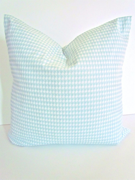 Light Blue Patterned Throw Pillow : Items similar to PILLOW Covers Light Blue 18x18 Decorative Throw Pillows Houndstooth 18 x 18 ...