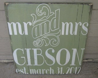 Custom Distressed Art Deco Wedding Sign- MR & MRS