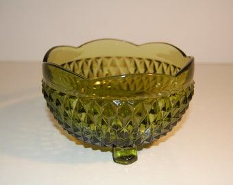 Indiana Glass Olive Green Mayonnaise Bowl
