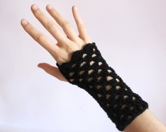 Black Wool Mittens - Black Wool Fingerless Gloves - Crochet Wool Handwarmers - Womens Accessories - Gifts For Her - Gothic Gloves