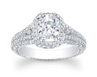 Ladies 14kt micro pave diamond engagement ring 1.33 ctw G-VS diamonds with 1.20ct Cushion white sapphire