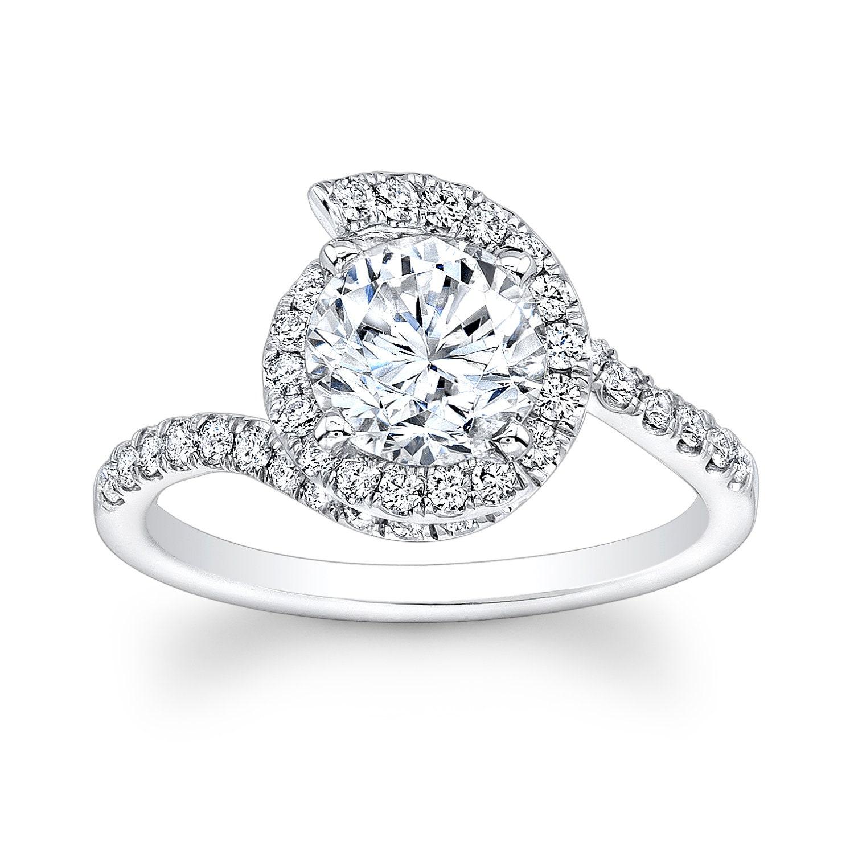 La s 14kt white gold diamond swirl halo engagement ring 1ct