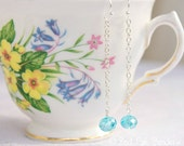 Aqua Blue Crystal and Silver Chain Two inch Drop Earrings