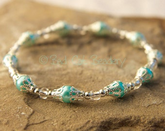 Silver Blue Stretch Bead Stack Bracelets in Shimmery Iridescent Blue, Silver