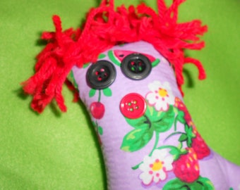 Daughter in Law Dammit Doll in lavender outfit with fruit pattern, Family Doll, Son in law's wife, watermelon pattern, cheeries