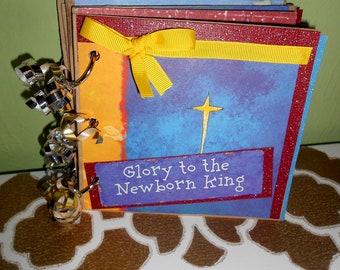 SALE Premade 5 x 5 Religious Christmas Mini Paperbag Scrapbook Album