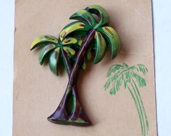 Vintage Celluloid Plastic Palm Tree Brooch Pin Florida Souvenir on original card