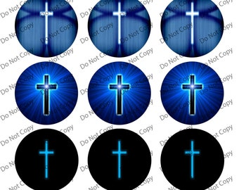 Instant digital Download Cross 1-inch Round Bottle Cap Images 4 x 6 in Digital Sheet, 1 inch circles, rounds, 1 inch digital images