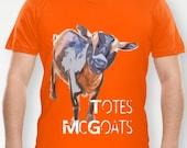 "Nigerian Dwarf Goat (Goats) Graphic Print Organic Fine Jersey Tee Shirt, T-Shirt - ""Totes McGoats"""