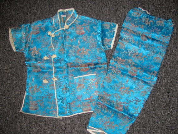 Vintage Chinese Asian Turquoise Children's Pajamas/Outfit/Costume