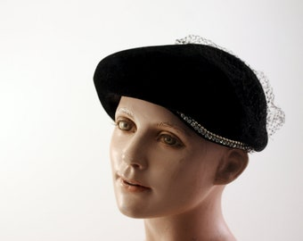 Vintage Velvet Black Hat with Rhinestone Pearl Combo and Veil Circa 1960's MADE IN FRANCE