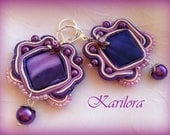 HALF PRICE SALE - Purple Lilac Soutache Earrings
