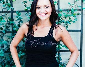 Just Married Tank Top. Bride, Newlywed, Just Married Rhinestone Tank Top. Wedding Clothing for Honeymoon.