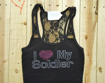 I Love My Soldier Shirt. Rhinestone Bride Tank Top Shirt. I Love My Soldier Shirt. Army Wife. Army Bride. Soldiers Bride.