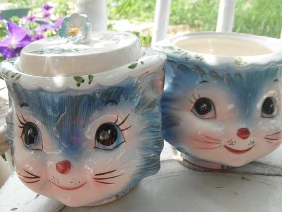 Vintage Lefton Miss Priss Kitty Cat Kitten SUGAR bowl with LID and Jam Jar set
