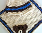 Cream, brown and blue striped hat and teddy bear burp cloth gift set - newborn - 6 months