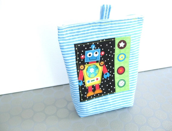 Back to School Reusable snack bag, Robot Applique and Blue Stripes, Cotton and Ripstop Nylon, Ready to Ship, Back to School
