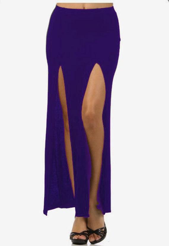 blue slit maxi skirt large