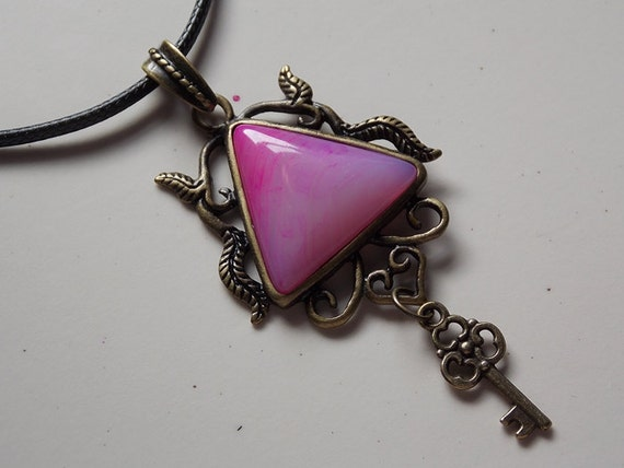 Pink Agate Gemstone Renaissance Necklace with Key